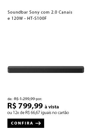 """PRODUTO 12 - """"Soundbar Sony com 2.0 Canais e 120W - HT-S100F"""