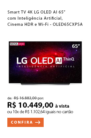 "PRODUTO 1 - ""Smart TV 4K LG OLED AI 65"" com Inteligência Artificial, Cinema HDR e Wi-Fi - OLED65CXPSA"