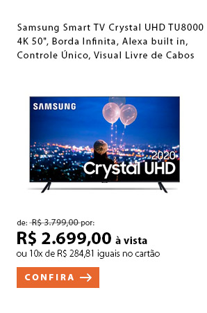 "PRODUTO 5 - Samsung Smart TV Crystal UHD TU8000 4K 50"", Borda Infinita, Alexa built in, Controle Único, Visual Livre de Cabos"