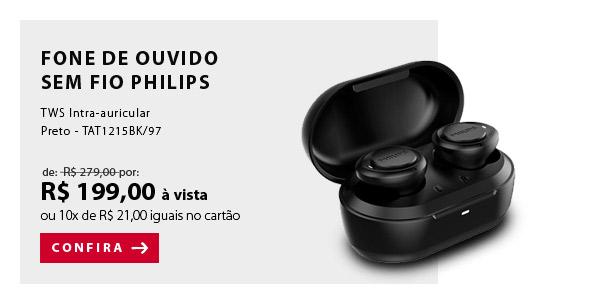 "BANNER 3 - ""Fone de Ouvido Sem Fio Philips TWS Intra-auricular Preto - TAT1215BK/97"