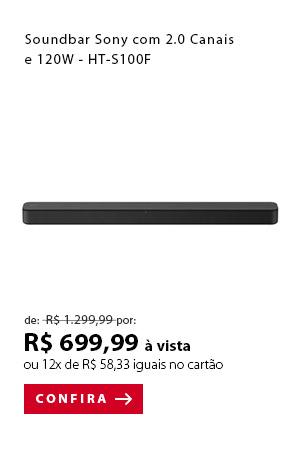 """PRODUTO 11 -  """"Soundbar Sony com 2.0 Canais e 120W - HT-S100F"""