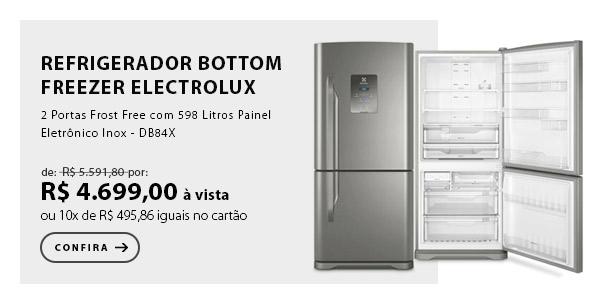 """BANNER 4 - """"Refrigerador Bottom Freezer Electrolux de 02 Portas Frost Free com 598 Litros Painel Eletrônico Inox - DB84X"""