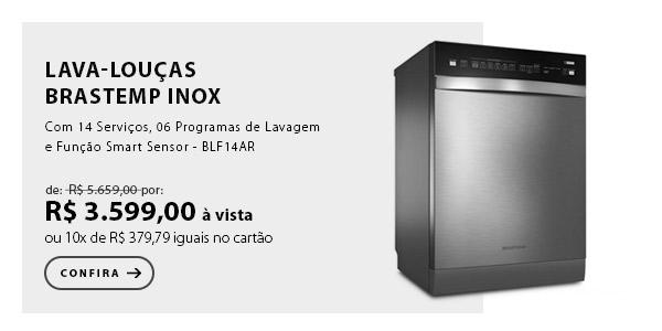 """BANNER EX - """"Lava-Louças Brastemp Inox com 14 Serviços, 06 Programas de Lavagem e Função Smart Sensor - BLF14AR"""