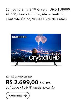 "PRODUTO Ex2 - Samsung Smart TV Crystal UHD TU8000 4K 50"", Borda Infinita, Alexa built in, Controle Único, Visual Livre de Cabos"