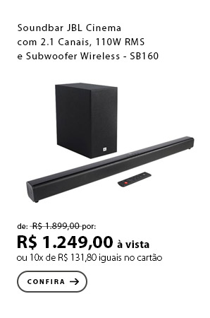 PRODUTO 4 - Soundbar JBL Cinema com 2.1 Canais, 110W RMS e Subwoofer Wireless - SB160