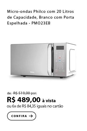 PRODUTO 5 - Micro-ondas Philco com 20 Litros de Capacidade, Branco com Porta Espelhada - PMO23EB
