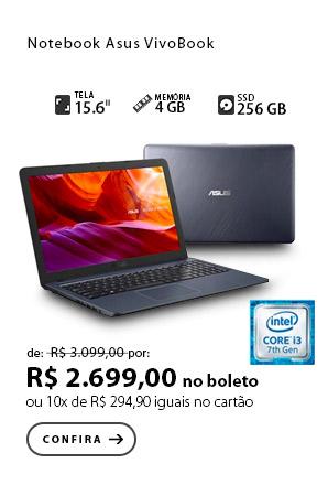 PRODUTO 9 - Notebook Asus VivoBook, Intel® Core™ i3, graphics 620, Cinza Escuro