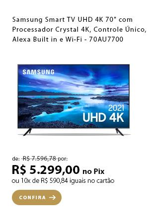 """PRODUTO 3 - """"Samsung Smart TV UHD 4K 70"""""""" com Processador Crystal 4K, Controle Único, Alexa Built in e Wi-Fi - 70AU7700"""