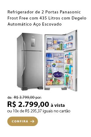 PRODUTO 6 - Refrigerador de 02 Portas Panasonic Frost Free com 435 Litros com Degelo Automático Aço Escovado - NR-BT50BD3X