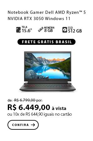 PRODUTO 10 - Notebook Gamer Dell G15-a0500-MM10P AMD Ryzen™ 5  NVIDIA RTX 3050 Windows 11