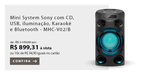 BANNER 4 - Mini System Sony com CD, USB, iluminação, Karaokê, e Bluetooth - MHC-V02/B