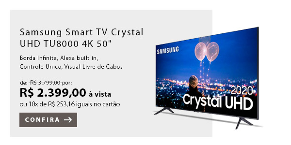 "BANNER 1 - Samsung Smart TV Crystal UHD TU8000 4K 50"""