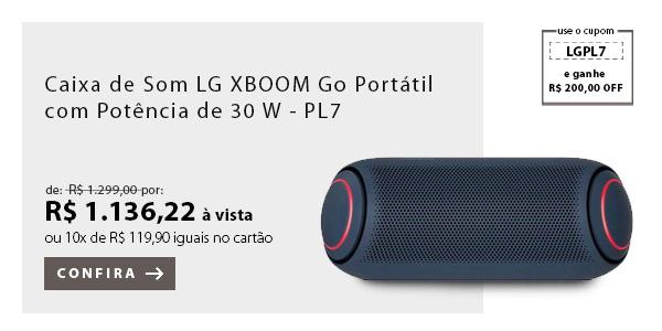 """BANNER 2 - """"Caixa de Som LG XBOOM Go Portátil com Potência de 30 W - PL7"""