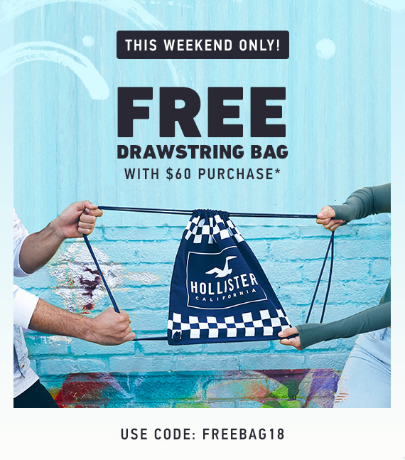 FREE DRAWSTRING BAG WITH $60 PURCHASE
