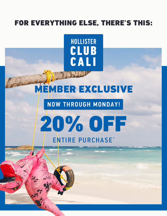 CLUB CALI EXCLUSIVE 20% OFF ENTIRE PURCHASE
