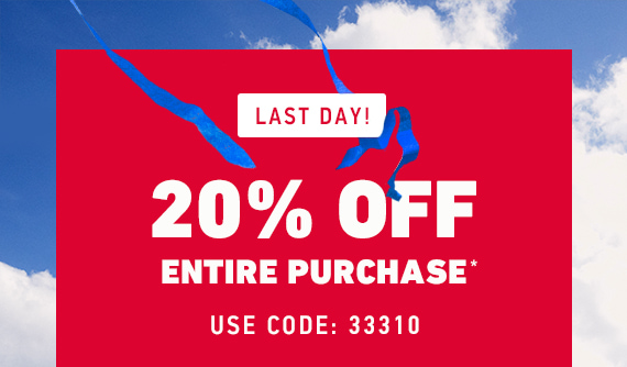 20% Off Entire Purchase* Use Code: 33310