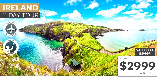 11 Day Ireland Tour with Abu Dhabi Stopover & Flights
