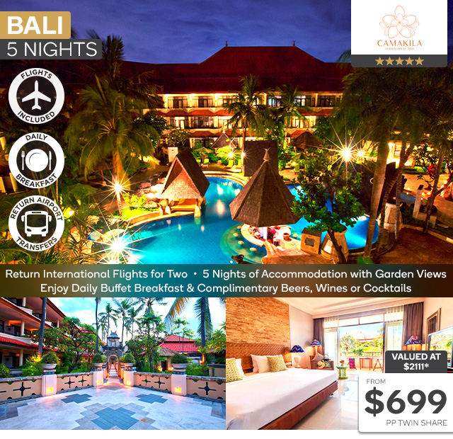 5 Nights Stay at Camakila Tanjung Benoa Bali with Flights