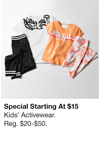Special Starting at $15, Kids' Activewear