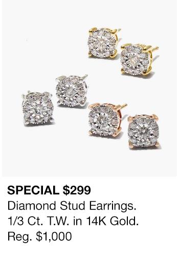 Special $299, Diamond Stud Earrings, 1/3 Ct. T.W.in 14K Gold Reg.$1000