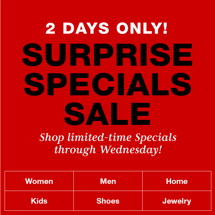 2 Days Only! Surprise Specials Sale, Shop limited-time specials through Wednesday!