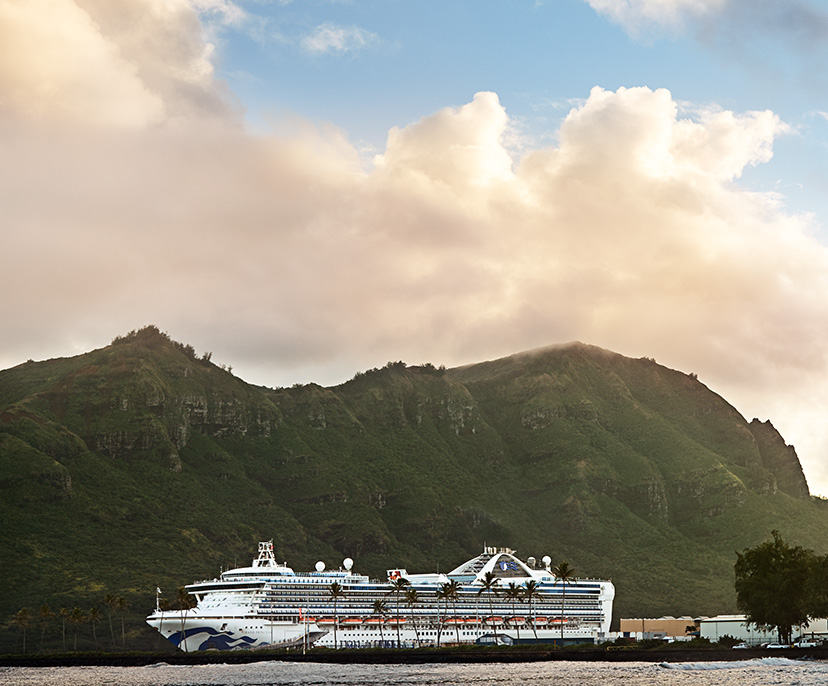 Image of a Princess ship docked with a mountain behind | Click here to book now