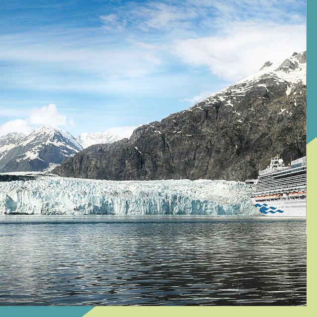 Princess cruise ship in front of a glacier in Alaska