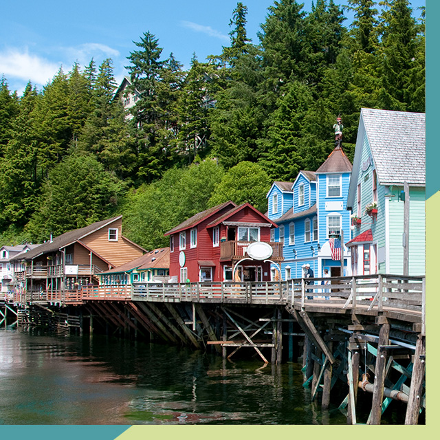 Alaska houses and wooden bridge