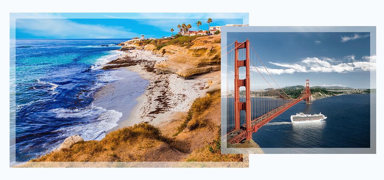 Images of la jolla and golden gate bridge. Click here to book California Coast Getaways