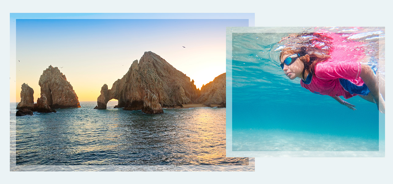 Images of San Lucas Cabo and a child swimming. Click here to book Maxico Getaways