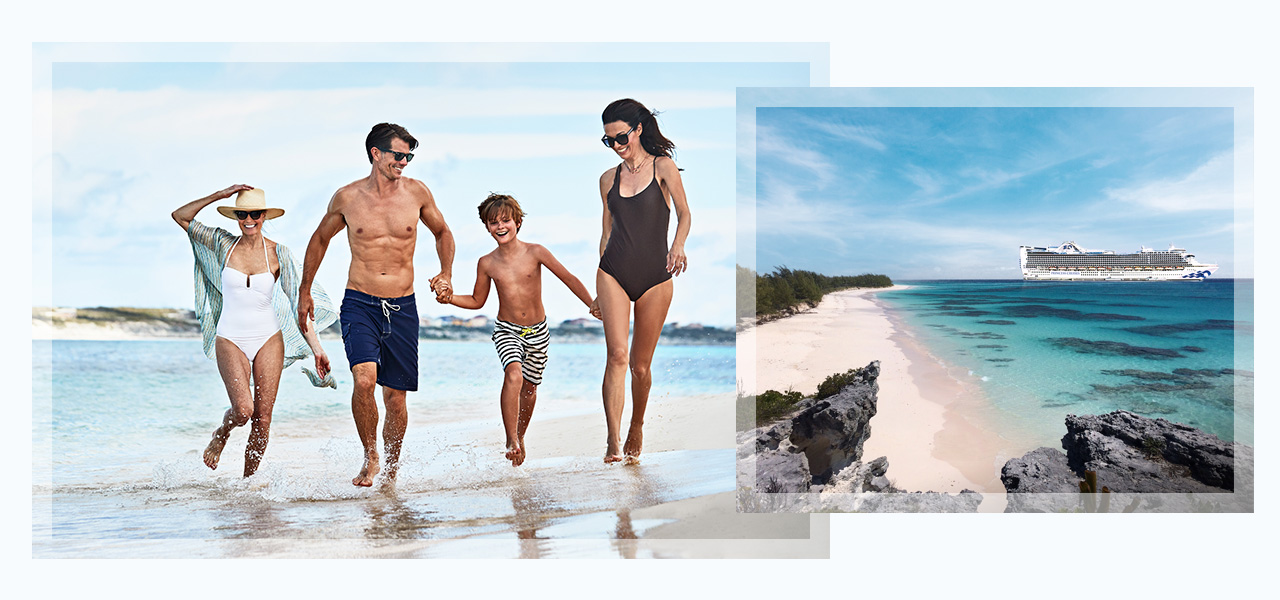 Images of family at a beach and Princess cruises ship. Click here to book Caribbean Getaways