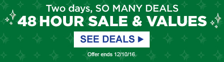 Two days, SO MANY DEALS | 48 HOUR SALE & VALUES | SEE DEALS | Offer ends 12/10/16.
