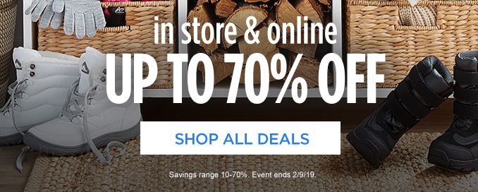 in store & online  |  UP TO 70% OFF  |  SHOP ALL DEALS  |  Savings range 10-70%. Event ends 2/9/19.