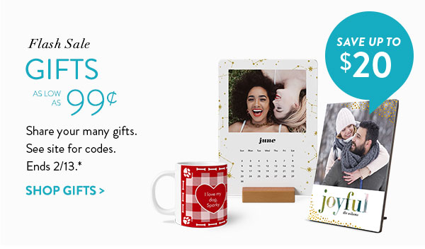 Flash sale | Gifts as low as 99¢ | Share your many gifts. See site for codes. | Ends 2/13.* | Save up to $20 | Shop gifts >