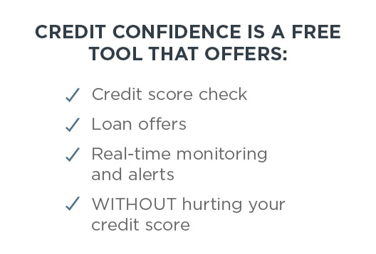 CREDIT CONFIDENCE IS A FREE TOOL THAT OFFERS: Credit score check | Loan offers | Real-time monitoring and alerts | WITHOUT hurting your credit score