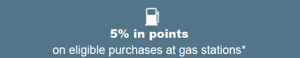 5% in points on eligible purchases at gas stations*