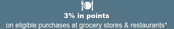3% in points on eligible purchases at grocery stores & restaurants*