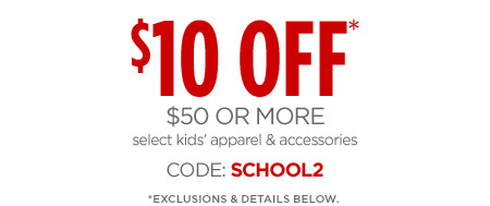 30% OFF* select original & regular-priced apparel, shoes, accessories, fine & fashion jewelry.