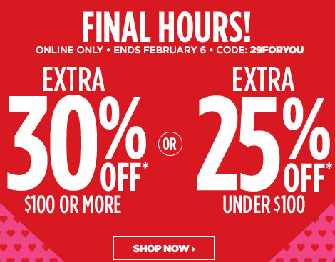 FINAL HOURS! ONLINE ONLY | ENDS FEBRUARY 6 | CODE: 29FORYOU