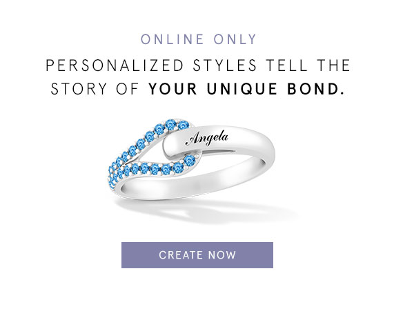 Online Only - Personalized styles tell the story of your unique bond. Create personalized Love + Be Loved styles.