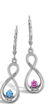 Color Stone Couple's Infinity Earrings