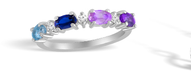 Color Stone Family Ring