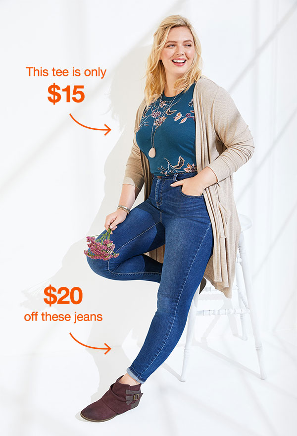 This tee is only $15. $20 off these jeans.